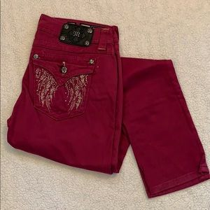 Miss Me Magenta Lightweight Blinged Out Jeans